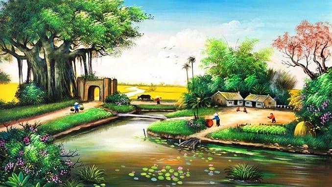 Tranh Vẽ Phong Cảnh Quê Hương đẹp AmiA TSD 422B